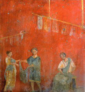 Affresco da un pilastro di una fullonica di Pompei, ora nel Museo Archeologico Nazionale di Napoli.