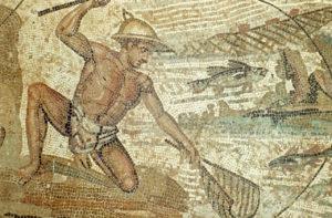 Mosaico con un uomo che sta pescando, Museo di Tripoli / © ph Michael Jefferies