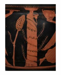 Cratere a colonnette attico a figure rosse Pittore di Leningrado, 470-460 a.C. alt. max 40,5 cm; diam. orlo 35 cm; diam. piede 17,8 cm Particolare con l'idolo di Dioniso Collezione Intesa Sanpaolo Gallerie d'Italia - Palazzo Leoni Montanari, Vicenza