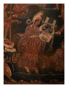 Cratere a volute apulo a figure rosse Pittore di Licurgo, 360-350 a.C. Particolare con Orfeo che suona la cetra Collezione Intesa