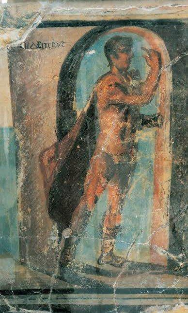 Dettaglio dell'affresco in cui Edipo risolve l'enigma della Sfinge