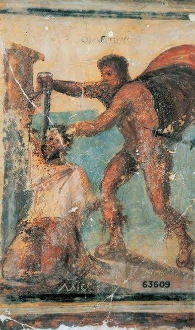 Particolare dell'affresco in cui Edipo uccide il re Laio