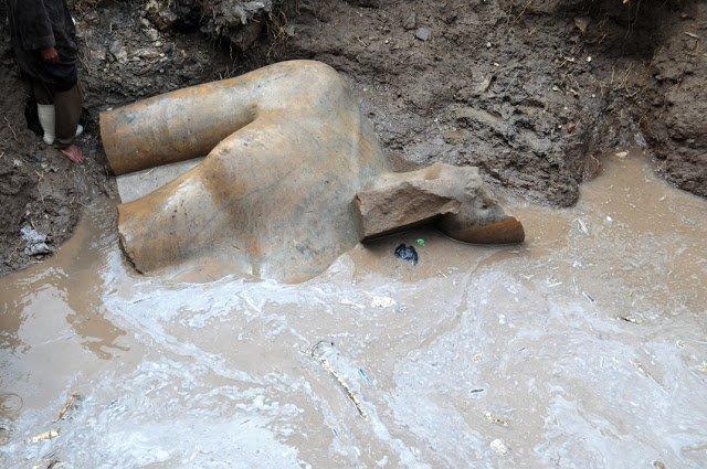 Scoperti ad Eliopoli un colosso di Ramesse II e un busto di Seti II
